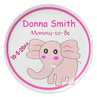 Adorable Pink Elephant Mommy-to-Be Baby Shower Dinner Plate