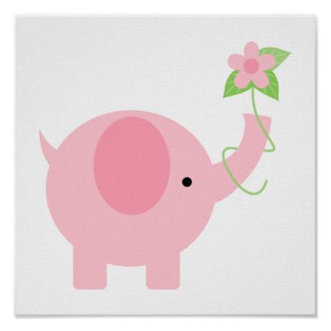 heartlocked Adorable Pink Elephant with Flowers Poster