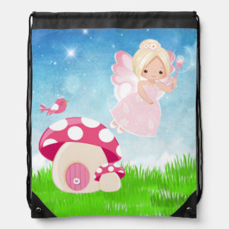 Adorable pink fairy drawstring backpack
