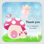 Adorable pink fairy square sticker
