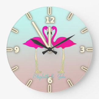 Adorable Pink Flamingos In Love-Personalized Large Clock