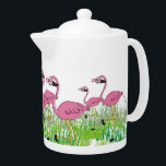 "Adorable Pink Flamingos Teapot<br><div class=""desc"">Pink Flamingos teapot.  Adorable flamingos in the grass adorn this sweet little porcelain teapot.  A fun gift for anyone who loves cute flamingos.   Unique design and gift item for any occasion.</div>"