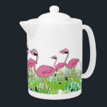 """Adorable Pink Flamingos Teapot<br><div class=""""desc"""">Pink Flamingos teapot.  Adorable flamingos in the grass adorn this sweet little porcelain teapot.  A fun gift for anyone who loves cute flamingos.   Unique design and gift item for any occasion.</div>"""