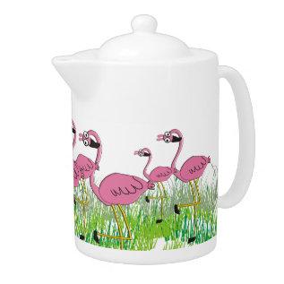 Adorable Pink Flamingos Teapot at Zazzle