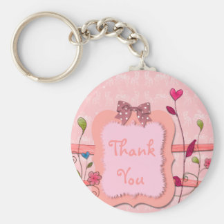 Adorable Pink Floral Girl Baby Shower Favor Basic Round Button Keychain