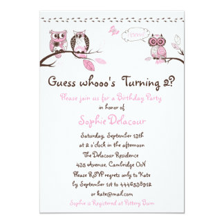 Adorable Pink Floral Owls Birthday Invitations