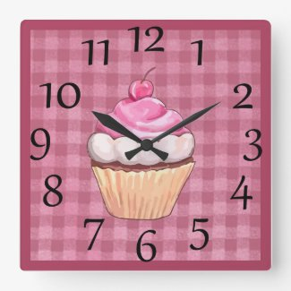 Adorable Pink Gingham Cupcake Wall Clock