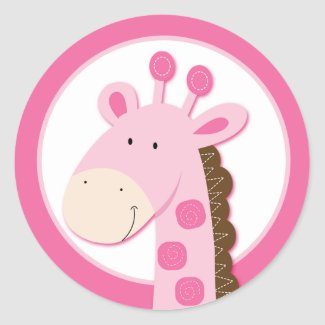 Adorable Pink Giraffe Envelope Seals or Toppers sticker