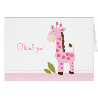 Adorable Pink Giraffe Folded Thank you notes