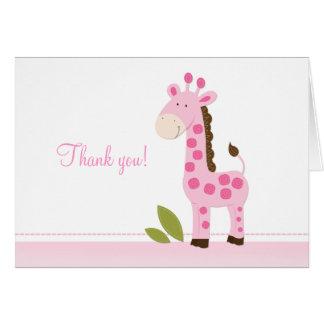 Adorable Pink Giraffe Folded Thank you notes