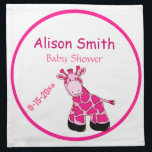 "Adorable Pink Giraffe Mommy To Be Baby Shower Napkin<br><div class=""desc"">Adorable pink giraffe for mommie&#39;s to be and baby shower favors.  Text is fully customizable,  for Grandma too!</div>"