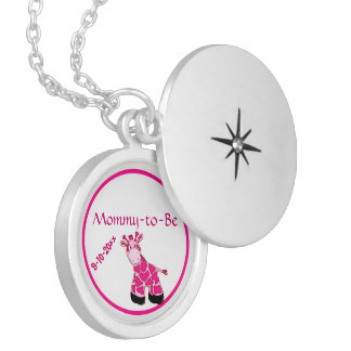 Adorable Pink Giraffe Mommy To Be Baby Shower Pendants