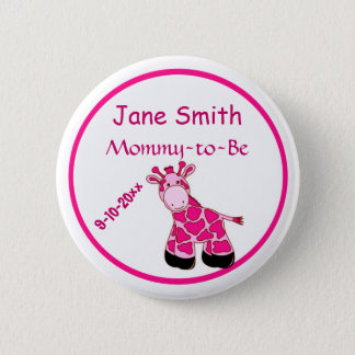 Adorable Pink Giraffe Mommy To Be Baby Shower Pinback Button
