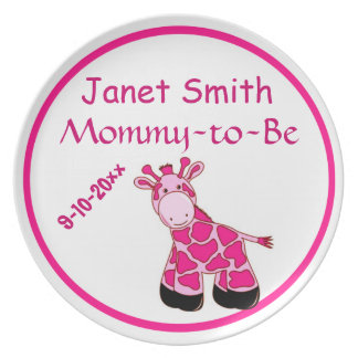 Adorable Pink Giraffe Mommy To Be Baby Shower Plate