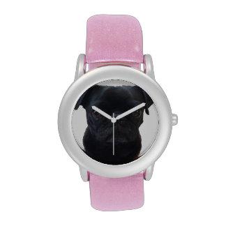 Adorable Pink Glitter Pug Watch