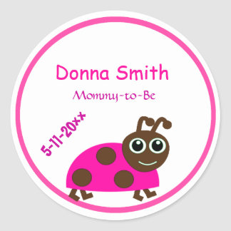 Adorable Pink Ladybug Mommy-to-Be Baby Shower Classic Round Sticker