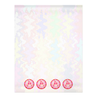 Adorable Pink Leaf Jewel : Dazzling Border Letterhead