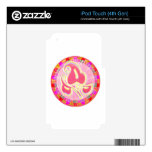 Adorable Pink Leaf Jewel : Dazzling Border Skin For iPod Touch 4G