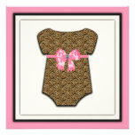 Adorable Pink Leopard Baby Shower Personalized Announcements