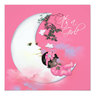 Adorable Pink Moon Baby Girl Shower Invites