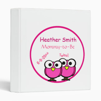 Adorable Pink Owl Mommy To Be Baby Shower Twins Vinyl Binder