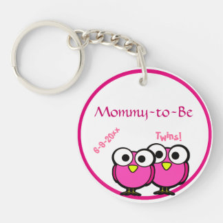 Adorable Pink Owl Mommy To Be Baby Shower Twins Keychain