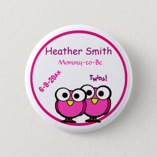 Adorable Pink Owl Mommy To Be Baby Shower Twins Pinback Button