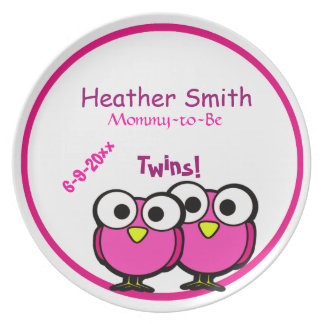 Adorable Pink Owl Mommy To Be Baby Shower Twins Plates