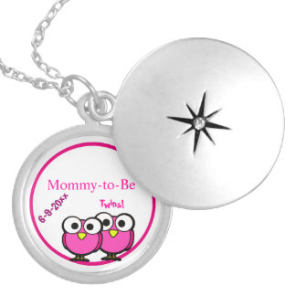 Adorable Pink Owl Mommy To Be Baby Shower Twins Round Locket Necklace