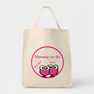 Adorable Pink Owl Mommy To Be Baby Shower Twins Tote Bag