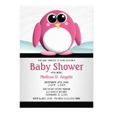 Adorable Pink Penguin Baby Shower Invitations
