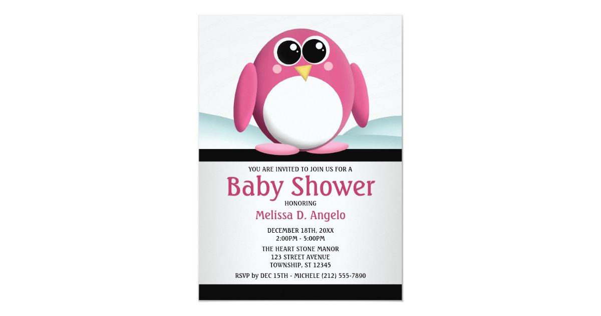 Adorable Pink Penguin Baby Shower Invitations | Zazzle.com