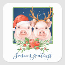 Adorable Pink Pig Couple Christmas Square Sticker
