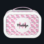 """Adorable Pink Pig Kids Animal Pattern Personalized Lunch Box<br><div class=""""desc"""">Adorable Pink Pig Kids Animal Pattern Personalized lunch box. Pink pig with curly tail and piggy snout in a white circle pattern. Background is a pretty bright pink. Monogram and personalize with initial and name in pink and black in a white circle in the center on front. Great for kids...</div>"""