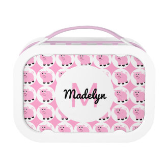 Adorable Pink Pig Kids Animal Pattern Personalized Lunch Box