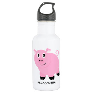 Adorable Pink Pig Personalized Cartoon Piggy Water Bottle