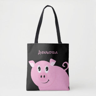 Adorable Pink Pig Personalized Sweet Little Piggy Tote Bag