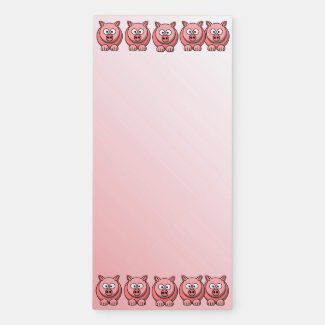 Adorable Pink Pigs Magnetic Notepad