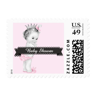 Adorable Pink Princess Baby Shower Stamps