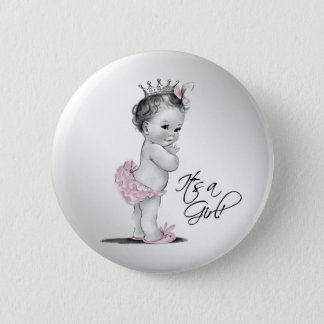 Adorable Pink Princess Its a Girl Button