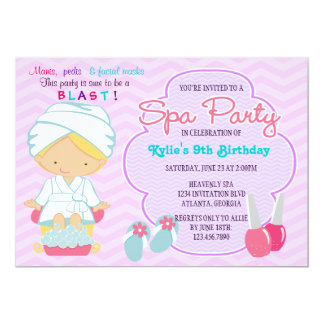 Adorable Pink Purple Spa Pampering Birthday Party 5x7 Paper Invitation Card