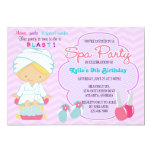 Adorable Pink Purple Spa Pampering Birthday Party Card