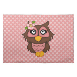 Adorable Pink Retro Owl Tees and Gifts Cloth Placemat