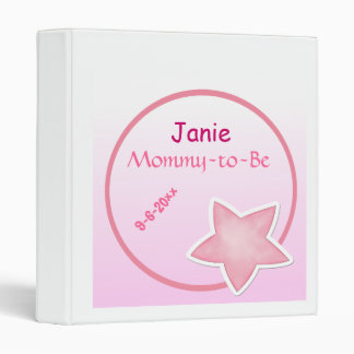 Adorable Pink Star, Mommy-to-Be Baby Shower 3 Ring Binder