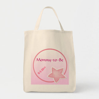 Adorable Pink Star, Mommy-to-Be Baby Shower Tote Bag