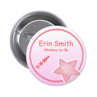 Adorable Pink Star, Mommy-to-Be Baby Shower Button