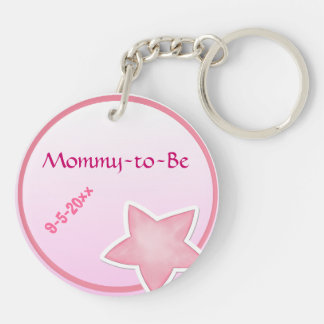 Adorable Pink Star, Mommy-to-Be Baby Shower Acrylic Keychains