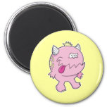 adorable pink tongue chomper monster 2 inch round magnet