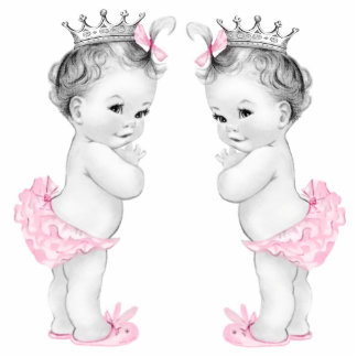 Adorable Pink Twin Baby Girl Shower Standing Photo Sculpture