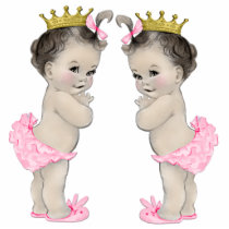 Adorable Pink Twin Baby Girl Shower Statuette